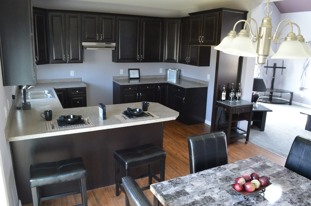 Kitchen with upgraded cabinets and countertops